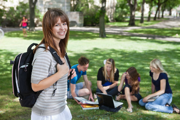 Studentengruppe auf Wiese