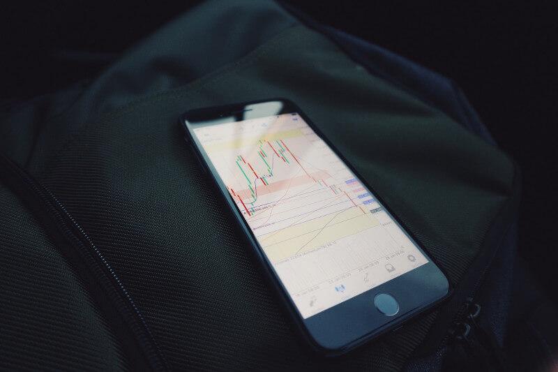 Aktienchart als Candle-Stick-Chart auf einem Handy